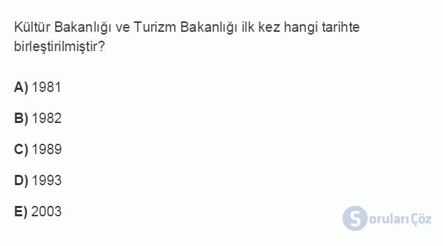 TRZ201U 8. Ünite Türkiye'de Turizm Testi I 9. Soru
