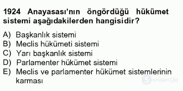 Anayasa I Tek Ders Sınavı 14. Soru