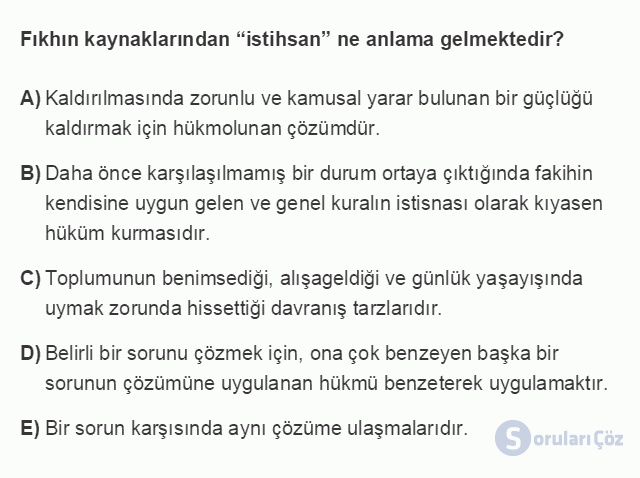 HUK101U 3. Ünite Hukuk Sistemleri ve Türk Hukuk Tarihi Testi I 1. Soru