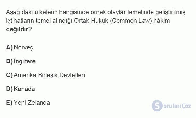HUK101U 3. Ünite Hukuk Sistemleri ve Türk Hukuk Tarihi Testi I 10. Soru