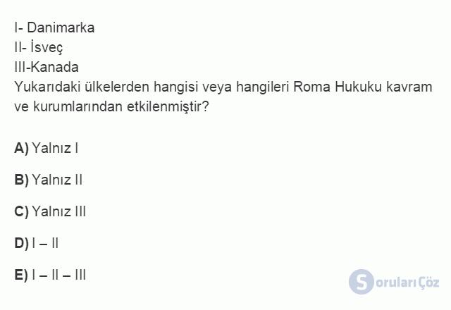 HUK101U 3. Ünite Hukuk Sistemleri ve Türk Hukuk Tarihi Testi I 12. Soru