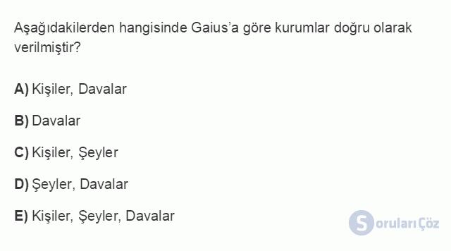 HUK101U 3. Ünite Hukuk Sistemleri ve Türk Hukuk Tarihi Testi I 13. Soru
