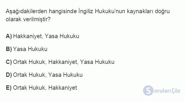 HUK101U 3. Ünite Hukuk Sistemleri ve Türk Hukuk Tarihi Testi I 14. Soru