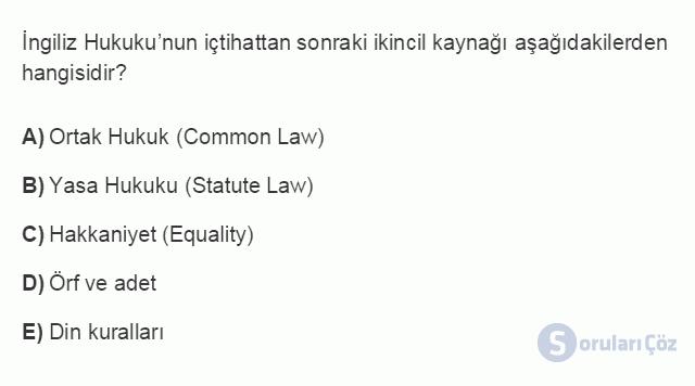 HUK101U 3. Ünite Hukuk Sistemleri ve Türk Hukuk Tarihi Testi I 15. Soru