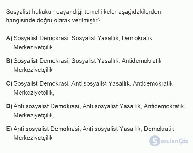 HUK101U 3. Ünite Hukuk Sistemleri ve Türk Hukuk Tarihi Testi I 16. Soru