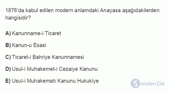 HUK101U 3. Ünite Hukuk Sistemleri ve Türk Hukuk Tarihi Testi I 18. Soru