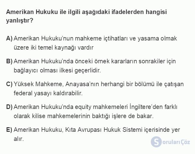HUK101U 3. Ünite Hukuk Sistemleri ve Türk Hukuk Tarihi Testi I 20. Soru