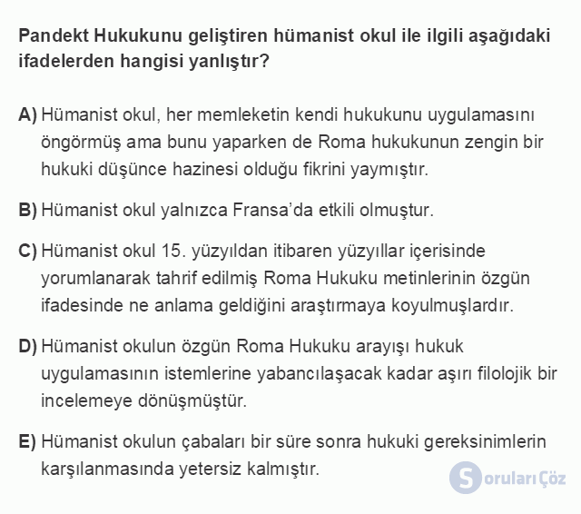 HUK101U 3. Ünite Hukuk Sistemleri ve Türk Hukuk Tarihi Testi I 3. Soru