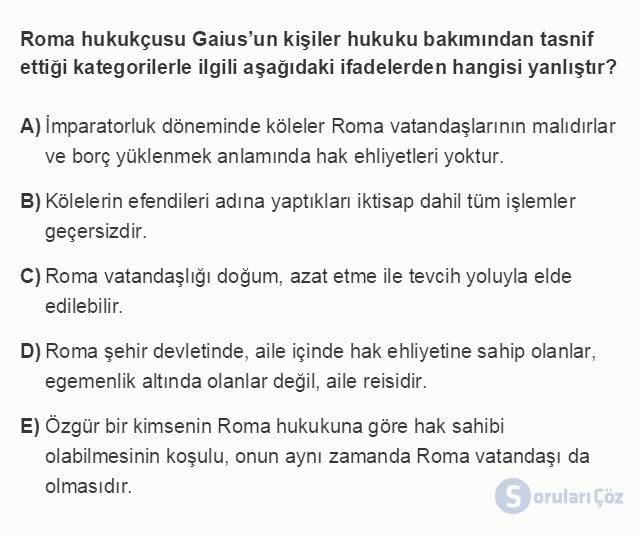 HUK101U 3. Ünite Hukuk Sistemleri ve Türk Hukuk Tarihi Testi I 4. Soru