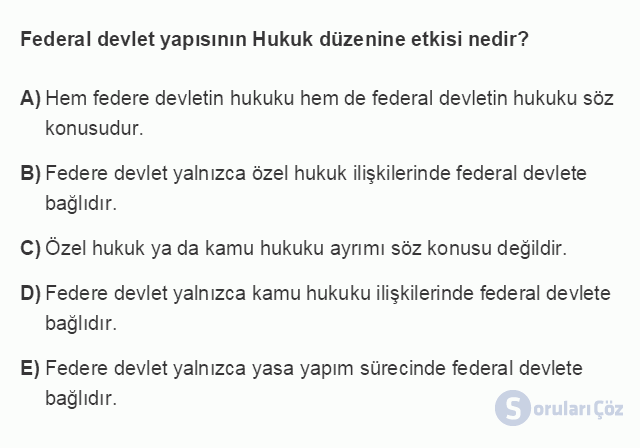 HUK101U 3. Ünite Hukuk Sistemleri ve Türk Hukuk Tarihi Testi I 5. Soru
