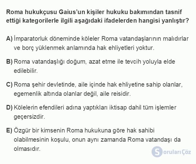 HUK101U 3. Ünite Hukuk Sistemleri ve Türk Hukuk Tarihi Testi I 7. Soru