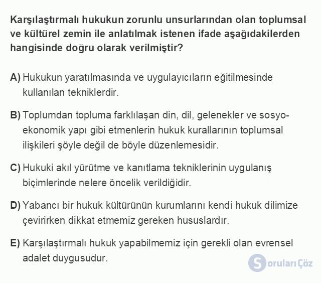 HUK101U 3. Ünite Hukuk Sistemleri ve Türk Hukuk Tarihi Testi I 8. Soru
