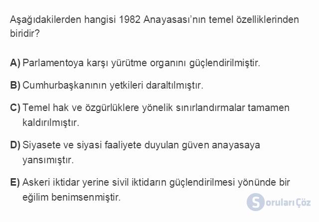 HUK107U 2. Ünite Anayasaların Yapılması ve 1982 Anayasası Testi I 15. Soru