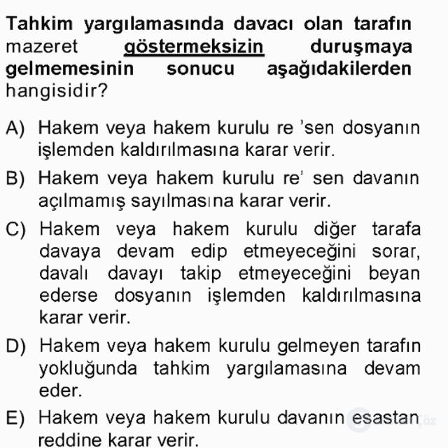 Medeni Usul Hukuku Tek Ders Sınavı 20. Soru