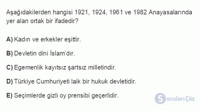 HUK107U 4. Ünite 1982 Anayasası'na Göre Devletin Temel Nitelikleri Testi I 18. Soru