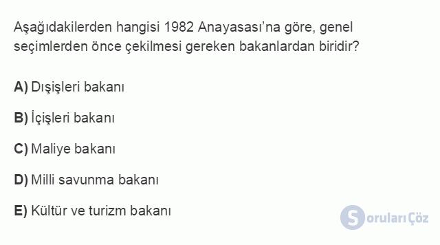 HUK107U 4. Ünite 1982 Anayasası'na Göre Devletin Temel Nitelikleri Testi I 19. Soru