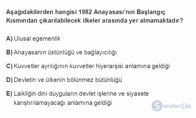 HUK107U 4. Ünite 1982 Anayasası'na Göre Devletin Temel Nitelikleri Testi I 6. Soru