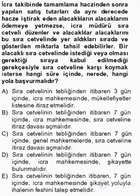 İcra İflas Hukuku Tek Ders Sınavı 7. Soru