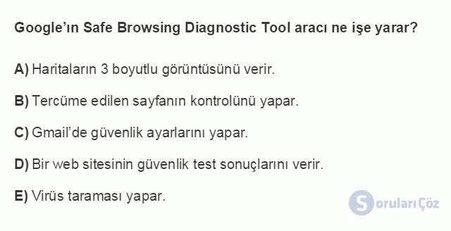 BİL101U 7. Ünite İnternet'in Etkin Kullanımı ve İnternet Güvenliği Testi I 1. Soru