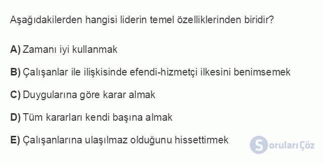 İŞL104U 5. Ünite Liderlik Testi I 10. Soru