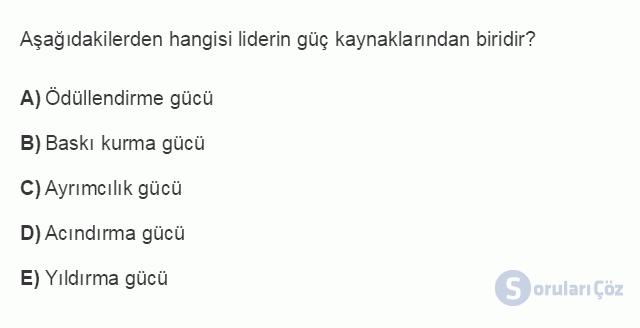 İŞL104U 5. Ünite Liderlik Testi I 11. Soru