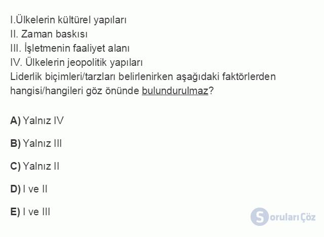 İŞL104U 5. Ünite Liderlik Testi I 12. Soru