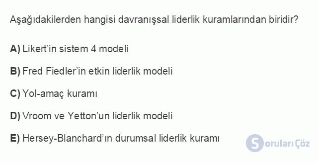 İŞL104U 5. Ünite Liderlik Testi I 16. Soru