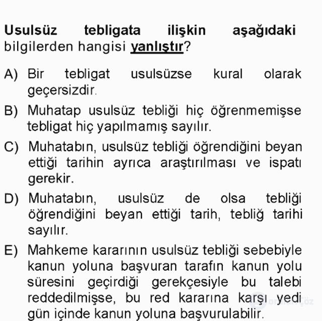 Yargı Örgütü ve Tebligat Hukuku Tek Ders Sınavı 18. Soru