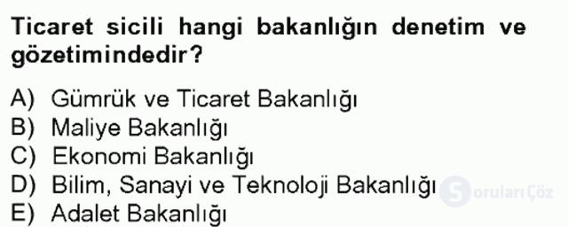 Ticaret Hukuku Tek Ders Sınavı 3. Soru