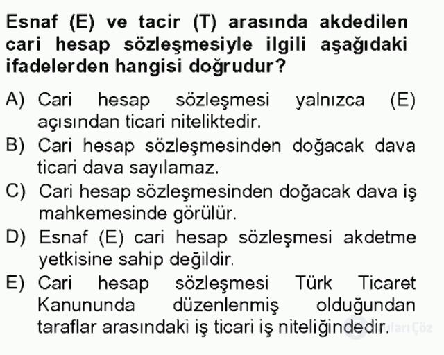 Ticaret Hukuku Tek Ders Sınavı 6. Soru
