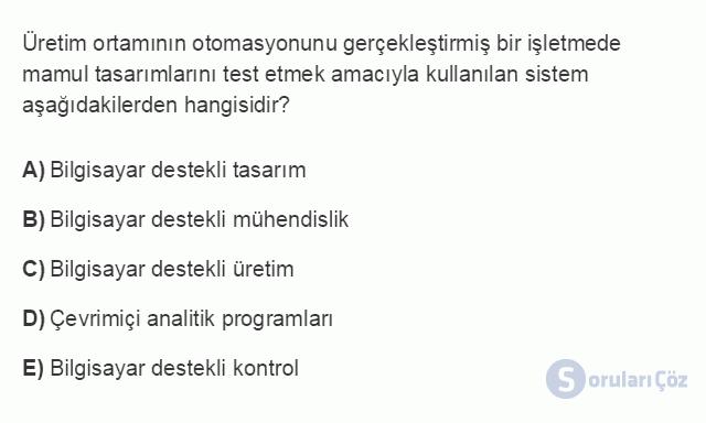 MUH302U 1. Ünite Maliyet Yönetimine Giriş Testi I 13. Soru