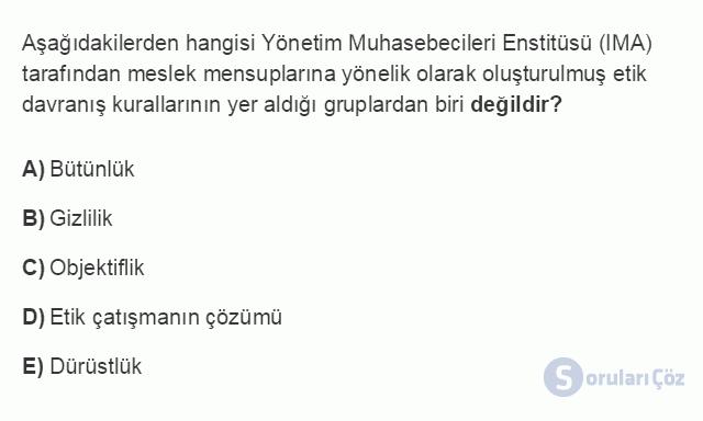 MUH302U 1. Ünite Maliyet Yönetimine Giriş Testi I 19. Soru