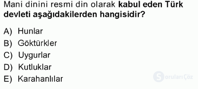 Türk İdare Tarihi Tek Ders Sınavı 1. Soru
