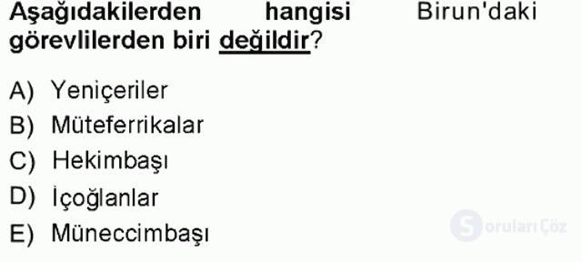 Türk İdare Tarihi Tek Ders Sınavı 10. Soru