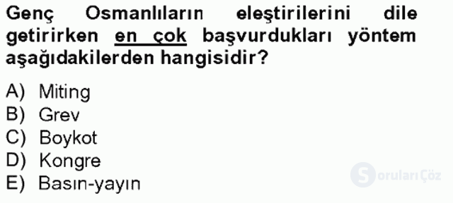 Türk İdare Tarihi Tek Ders Sınavı 13. Soru