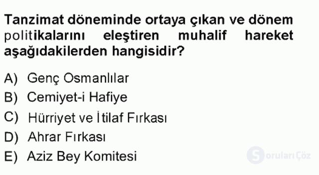 Türk İdare Tarihi Tek Ders Sınavı 14. Soru