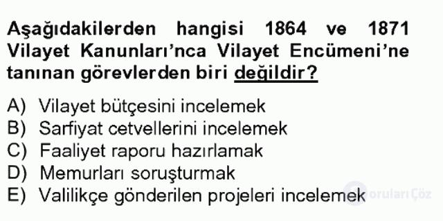 Türk İdare Tarihi Tek Ders Sınavı 16. Soru