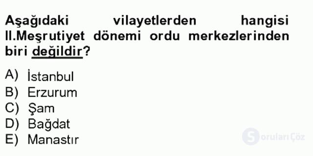 Türk İdare Tarihi Tek Ders Sınavı 17. Soru