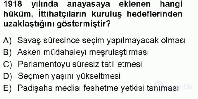 Türk İdare Tarihi Tek Ders Sınavı 18. Soru