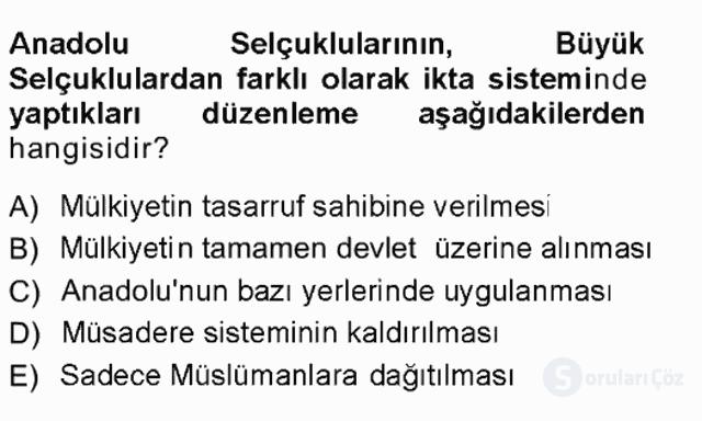 Türk İdare Tarihi Tek Ders Sınavı 4. Soru