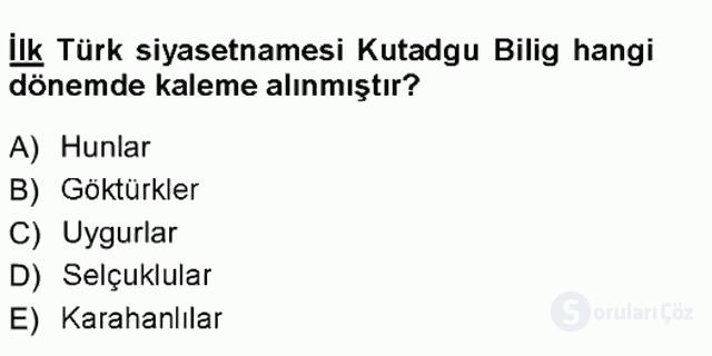 Türk İdare Tarihi Tek Ders Sınavı 6. Soru