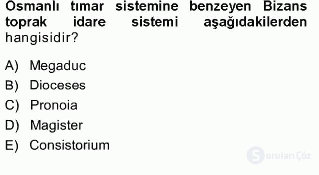 Türk İdare Tarihi Tek Ders Sınavı 7. Soru