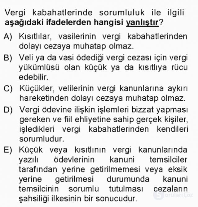 Vergi Ceza Hukuku Tek Ders Sınavı 3. Soru