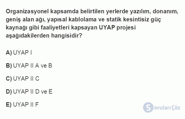 ADL203U 1. Ünite E-Dönüşüm Sürecinde Ulusal Yargı Ağı Projesi Testi I 8. Soru