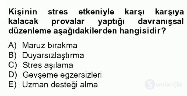 Çalışma ve Stres Yönetimi II Bahar Dönemi Final 13. Soru