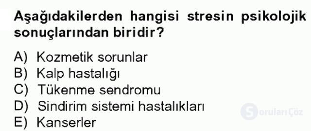 Çalışma ve Stres Yönetimi II Bahar Dönemi Final 20. Soru