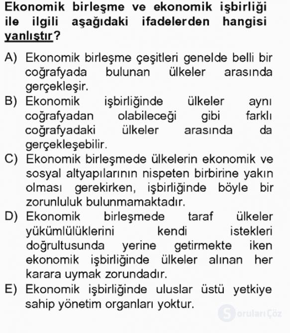 Uluslararası İktisat Tek Ders Sınavı 8. Soru