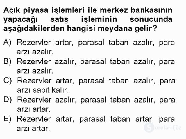 Para Politikası Tek Ders Sınavı 4. Soru