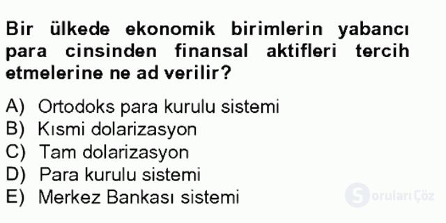 Para Politikası Tek Ders Sınavı 9. Soru