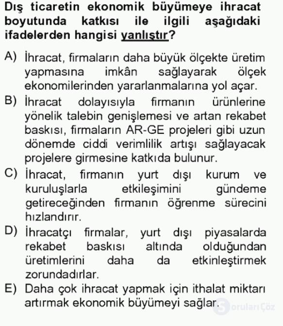 Uluslararası İktisat Teorisi Tek Ders Sınavı 14. Soru